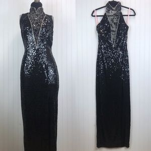 Vtg Sequined Cocktail Gown New Years Column Dress
